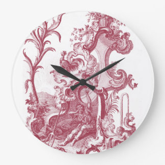 Elegant French Country Antique Red Toile de Jouy Large Clock
