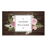 Elegant French Country Pink Roses on Woodgrain Pack Of Standard Business Cards