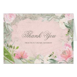 Elegant French Pink Floral Bridal Shower Thank You Card