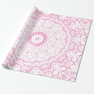 Elegant french pink watercolor lace pattern wrapping paper