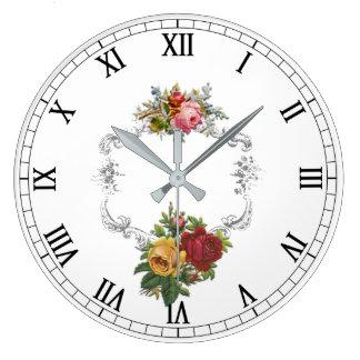 Elegant French Vintage Roses with Filigree Frame Large Clock