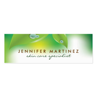 Elegant Fresh Green Leafs Design 2 Double-Sided Mini Business Cards (Pack Of 20)