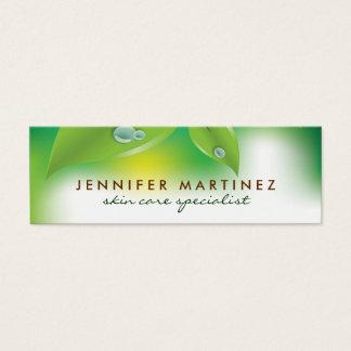 Elegant Fresh Green Leafs Design 2 Mini Business Card