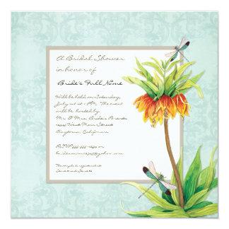Elegant Fritillaria Dragonfly Floral Bridal Shower 13 Cm X 13 Cm Square Invitation Card