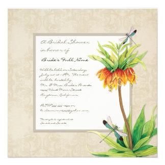 Elegant Fritillaria Dragonfly Floral Bridal Shower Invites