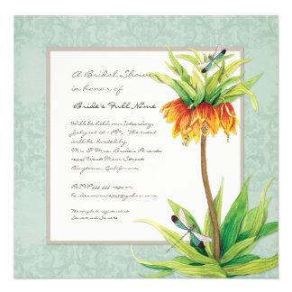 Elegant Fritillaria Dragonfly Floral Bridal Shower Custom Invitations