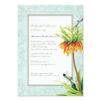 Elegant Fritillaria n Dragonfly Bridal Shower 13 Cm X 18 Cm Invitation Card