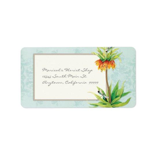Elegant Fritillaria n Dragonfly Business Shipping Address Label