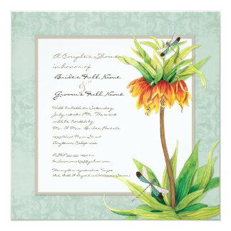 Elegant Fritillaria n Dragonfly Couples Shower 13 Cm X 13 Cm Square Invitation Card