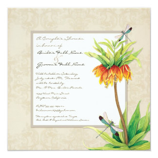 Elegant Fritillaria n Dragonfly Couples Shower 13 Cm X 13 Cm Square Invitation Card