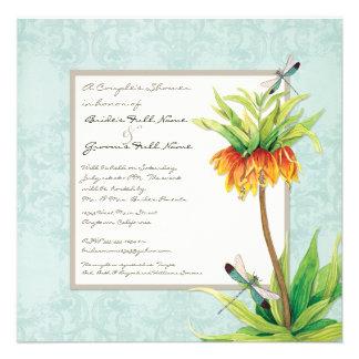 Elegant Fritillaria n Dragonfly Couples Shower Custom Invites