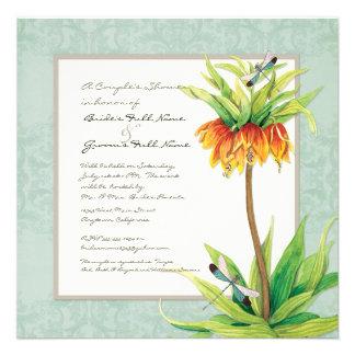 Elegant Fritillaria n Dragonfly Couples Shower Custom Announcement