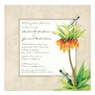 Elegant Fritillaria n Dragonfly Couples Shower Personalized Announcements