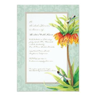 Elegant Fritillaria n Dragonfly Floral Flower 13 Cm X 18 Cm Invitation Card