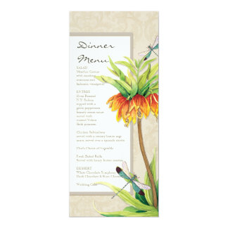Elegant Fritillaria n Dragonfly Formal Dinner Menu 10 Cm X 24 Cm Invitation Card