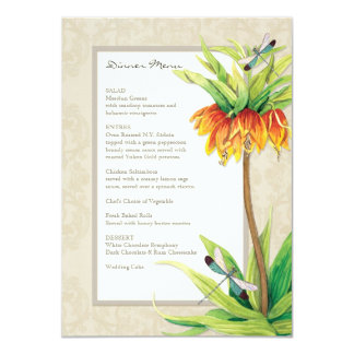 Elegant Fritillaria n Dragonfly Formal Dinner Menu 11 Cm X 16 Cm Invitation Card