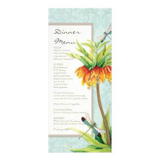 Elegant Fritillaria n Dragonfly Formal Dinner Menu Custom Announcement