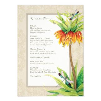 Elegant Fritillaria n Dragonfly Formal Dinner Menu Custom Invitation