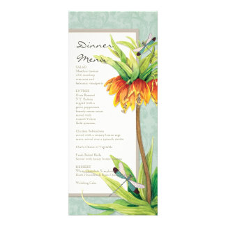 Elegant Fritillaria n Dragonfly Formal Dinner Menu Personalized Announcements