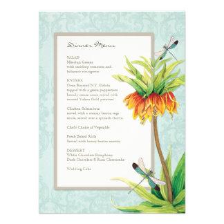 Elegant Fritillaria n Dragonfly Formal Dinner Menu Invite
