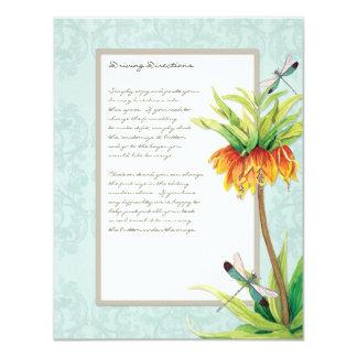 Elegant Fritillaria n Dragonfly Information Sheet 11 Cm X 14 Cm Invitation Card