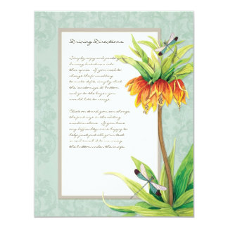 Elegant Fritillaria n Dragonfly Information Sheet 11 Cm X 14 Cm Invitation Card