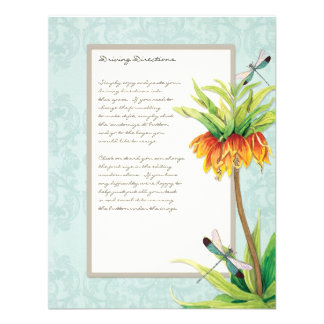 Elegant Fritillaria n Dragonfly Information Sheet Personalized Invites