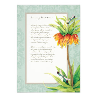 Elegant Fritillaria n Dragonfly Information Sheet Invite