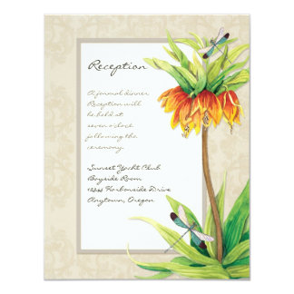 "Elegant Fritillaria n Dragonfly Reception Invite 4.25"" X 5.5"" Invitation Card"