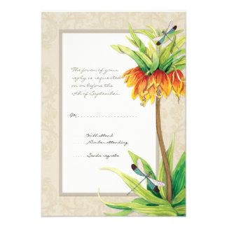 Elegant Fritillaria n Dragonfly RSVP Response Card Custom Announcement