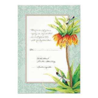 Elegant Fritillaria n Dragonfly RSVP Response Card Invitation