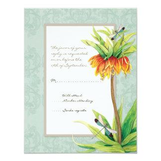 Elegant Fritillaria n Dragonfly RSVP Response Card 11 Cm X 14 Cm Invitation Card