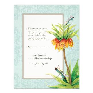 Elegant Fritillaria n Dragonfly RSVP Response Card Custom Invitations