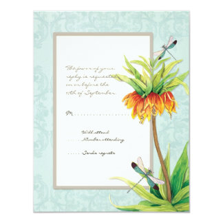"Elegant Fritillaria n Dragonfly RSVP Response Card 4.25"" X 5.5"" Invitation Card"