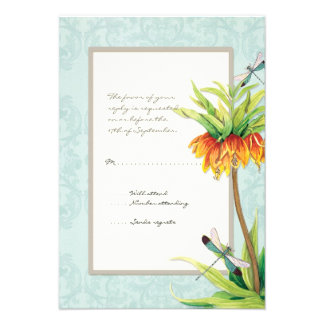 Elegant Fritillaria n Dragonfly RSVP Response Card Personalized Announcement