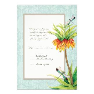 Elegant Fritillaria n Dragonfly RSVP Response Card Custom Invite