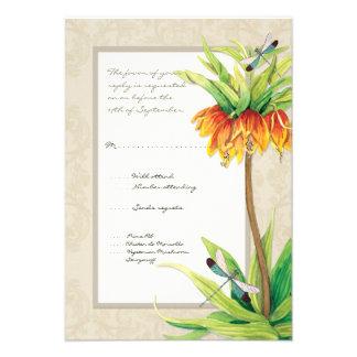 Elegant Fritillaria n Dragonfly RSVP Response Card Custom Invites
