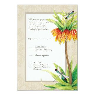 "Elegant Fritillaria n Dragonfly RSVP Response Card 3.5"" X 5"" Invitation Card"