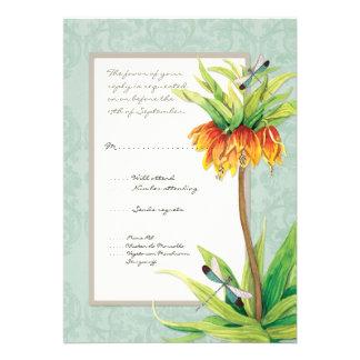 Elegant Fritillaria n Dragonfly RSVP Response Card Announcement