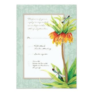 Elegant Fritillaria n Dragonfly RSVP Response Card 13 Cm X 18 Cm Invitation Card