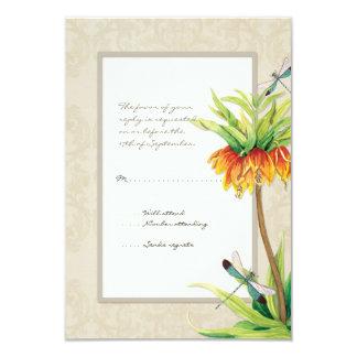 Elegant Fritillaria n Dragonfly RSVP Response Card Custom Announcements