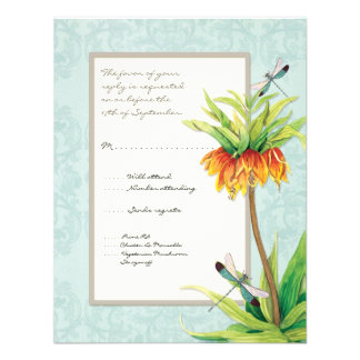 Elegant Fritillaria n Dragonfly RSVP Response Card Personalized Invites