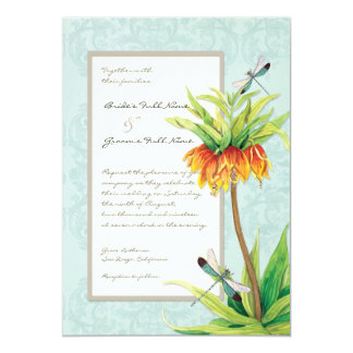 Elegant Fritillaria n Dragonfly Wedding Invitation