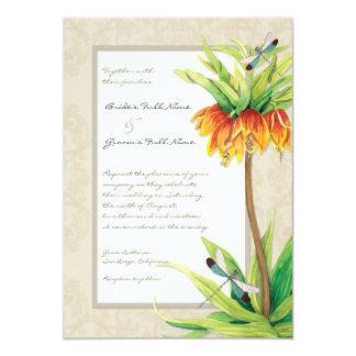 """Elegant Fritillaria n Dragonfly Wedding Invitation 5"""" X 7"""" Invitation Card"""