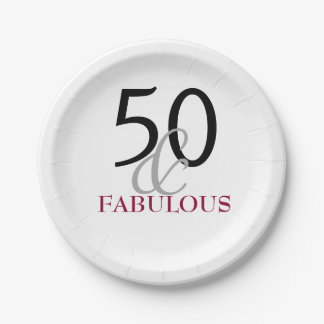 Elegant Fuchia 50th Birthday Party Paper Plate
