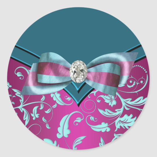 Elegant Fuchsia Hot Pink Teal Blue Stickers