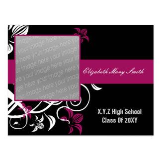 elegant fuchsia pink photo Graduation Invitation Postcard