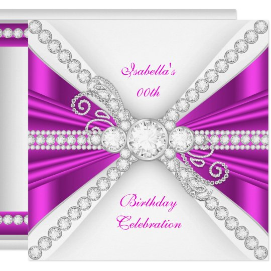 Elegant Fuchsia Pink Silver Diamond Birthday Party Card