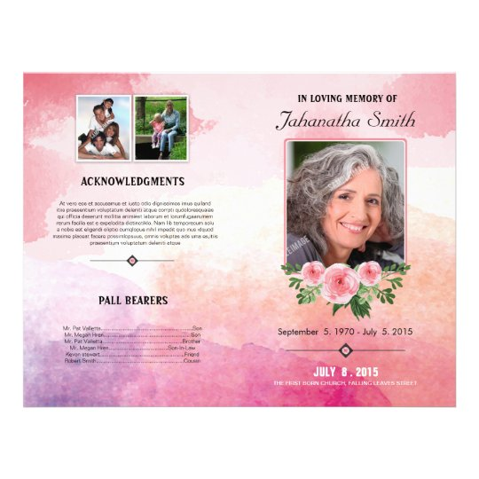 Elegant Funeral Program Template Flyer