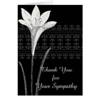 Elegant Funeral Thank You Card Iris Black and Whit